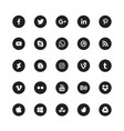 Social media black circular icons vector