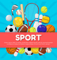 sport poster design of different equipment vector image vector image