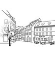 street cafe old city view european cityscape vector image vector image