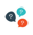 three chat speech message bubbles with question vector image vector image