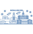 usa new york buffalo winter city skyline merry vector image vector image