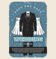 wedding retro poster with bridal dress and suit vector image vector image