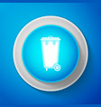 white recycle bin with icon isolated trash can vector image