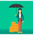 Woman with umbrella protecting money vector image vector image
