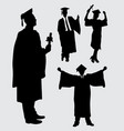 graduation people action silhouette vector image