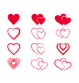 set hand drawn hearts elements for greeting cards vector image