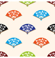 asian hand fan various colors set seamless pattern vector image vector image