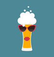 beer glass with sunglasses vector image vector image