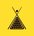 black billiard cue and balls in a rack triangle vector image vector image