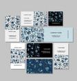Business cards design russian gzhel ornament