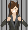 Business woman try to escape from prison vector image vector image