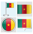 Cameroon flag - sticker button label flagstaff vector image vector image