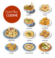 central asian food cuisine traditional dishes vector image vector image