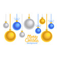 christmas blue and yellow balls background vector image