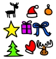 Christmas objects collection cartoon simple shapes