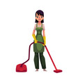 cleaning service girl charwoman in overalls vector image vector image
