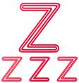 Crimson line z logo design set vector image vector image