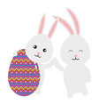 egg paint with couple cute rabbits easter vector image vector image