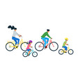 family riding bicycle flat vector image