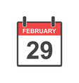 february 29 calendar icon leap day in flat style vector image vector image