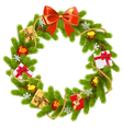 Fir Wreath with Red Bow vector image vector image