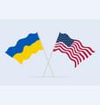 flag usa and ukraine together a symbol vector image
