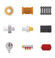 flat icon plumbing set of heater industry roll vector image vector image