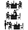 Flat valentines day office icons isolated on white vector image vector image