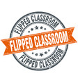 flipped classroom round grunge ribbon stamp vector image vector image