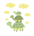 funny cartoon turtle print vector image vector image