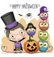 halloween card with boy and owls vector image vector image