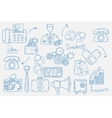 Hand drawn doodles background with business icons vector image vector image