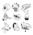 hand drawn set cats vector image