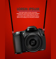 hanging realistic photo camera professional photo vector image vector image