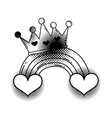 heart with crown pop art style vector image