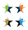 human figure star logo template vector image vector image