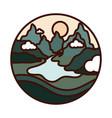 landscape nature rive mountains valley scene line vector image