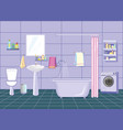 modern bathroom interior with plumbing lilac vector image