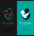 mom and baby design on black background and blue vector image