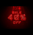 neon frame 40 off text banner night sign board vector image vector image