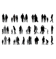 Parents and children with pram Silhouette vector image vector image