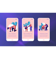 people training exercise in gym mobile app page vector image vector image