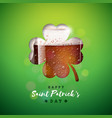 saint patricks day design with fresh dark beer in vector image vector image
