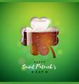 saint patricks day design with fresh dark beer vector image vector image