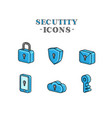 set icons for security 3d graphic stylized vector image