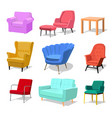 set modern colorful soft armchair and sofa vector image vector image