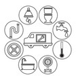 sketch contour vehicle with icons plumbing vector image