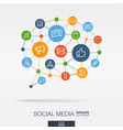 social media integrated thin line icons in speech vector image vector image