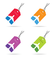 tag travel with airplane set color vector image vector image