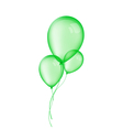 Three green balloons isolated on white background vector image vector image